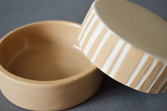 Set of 2 Small Handmade Textured Striped Dishes- Honey (Cream-Beige) and White