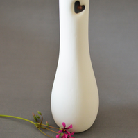 White Porcelain Vase with Embossed Red Heart