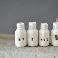 Mini Mr and Mrs Bottles with Heart Bottle embossed with Platinum Lustre