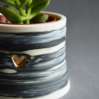 Thrown Porcelain Planter with Gold Heart ( White, Black & Grey)