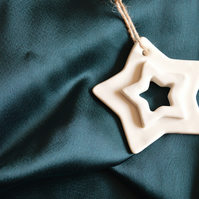 Hanging Christmas Star- Ceramic Porcelain