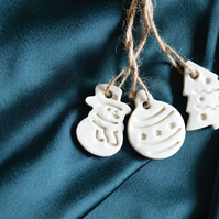 Set of 3 Tags- Snowman , Bauble and Tree - Ceramic Porcelain