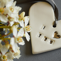 Ceramic Porcelain- I love you Heart Tag with Platinum embossed Heart.