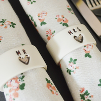 Mr & Mrs Porcelain Napkin Rings