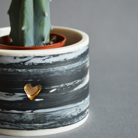 Thrown Porcelain Planter- White with black and grey. Embossed with Gold Heart