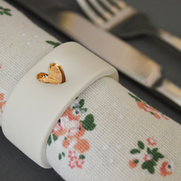 Gold Embossed Heart Porcelain Napkin Rings