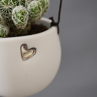 White Hanging Planter with Platinum Silver Embossed Heart