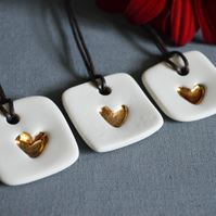 Small Heart Tags with Gold Embossed Heart