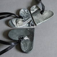 Marble Heart Tags with Black Ribbon for Hanging