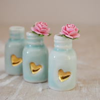 Glazed Mini Bottle with Embossed Gold Heart and Paper Pink Rose(Wire stem)