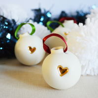 Small Christmas Bauble with a Gold Lustre Heart- Made from Porcelain