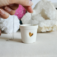 Ceramic Porcelain- Mini Gold Heart Pot