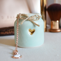Small Glazed Turquoise-Mint Jar with aGold Embossed Heart & Twine around the rim