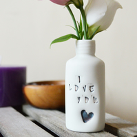 I love you bottle- Ceramic Porcelain with Maroon Embossed Heart