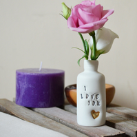 I love you bottle- Ceramic Porcelain with Gold Lustre Embossed Heart