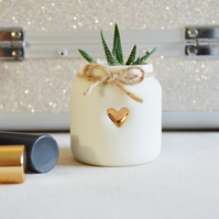 Small White Jar with a Gold Embossed Heart & Twine around the rim