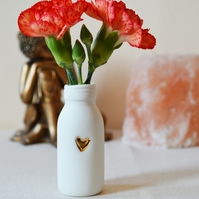 SMALL Porcelain Bottle Vase with a Gold Embossed Heart