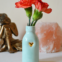 MEDIUM Glazed Bottle Vase with A Gold Embossed Heart