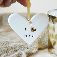Ceramic Porcelain- I love you Heart Tag with Gold embossed Heart.