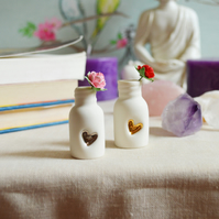 Mini Bottle with Embossed Heart and Paper Rose (Wire stem)
