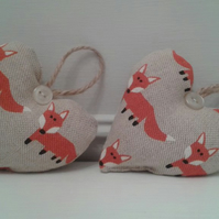 Pair of mini cute fox print fabric hanging hearts
