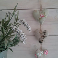 Shabby chic,triple heart hanger,hare and floral mix