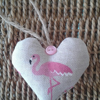 Cute flamingo fabric hanging heart