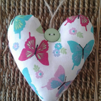 Shabby chic fabric butterfly and polka dot ,reversible hanging heart