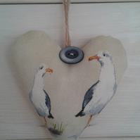 Seagull fabric hanging heart
