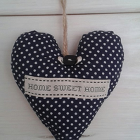Navy and white fabric polka 'Home Sweet Home' hanging heart