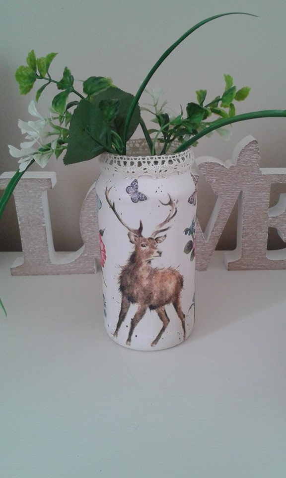 Shabby chic decoupage stag,floral and butterfly glass jar