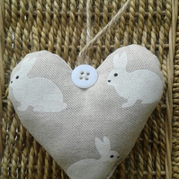 White bunny shabby chic fabric hanging heart