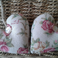 Pair of shabby chic vintage fabric mini hanging hearts