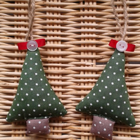 Pair of shabby chic polka dot Christmas tree decorations