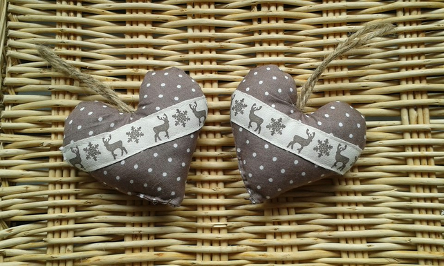 Pair of shabby chic polka dot coffee and cream,stag, heart tree decorations