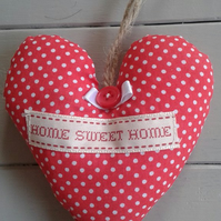 Red and white polka dot,fabric Home Sweet Home hanging heart