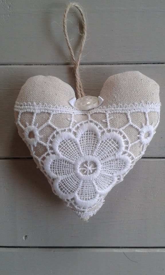 Linen and lace shabby chic hanging fabric heart