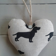 Lovely natural linen Dachshund fabric hanging heart