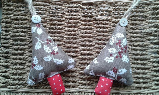 Pair of holly print Christmas tree decorations