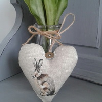 Natural Country Hare fabric hanging heart