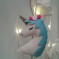 Pretty Unicorn glitter hanging decoration