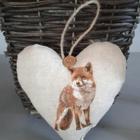 Shabby chic natural fabric heart hanging decoration