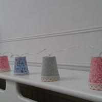 Shabby chic mini lampshade light garland