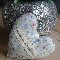 Mothers day, Mum in a million,shabby chic floral hanging heart