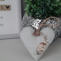 Shabby chic,pale duck egg blue,country hare hanging heart decoration