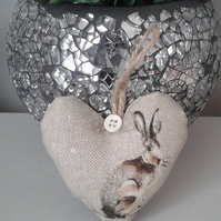 Mini shabby chic country hare hanging heart