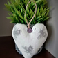 Cream and grey bee hanging fabric heart decoration
