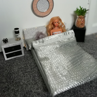 Barbie doll metallic silver bedding  with faux fur cushion