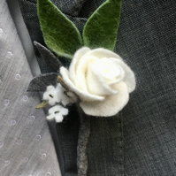small white felt rose boutonniere for Groom, groomsmen or pageboy