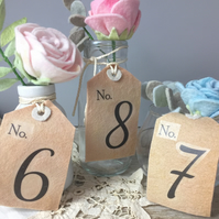 Set of ten felt table numbers gift tag style